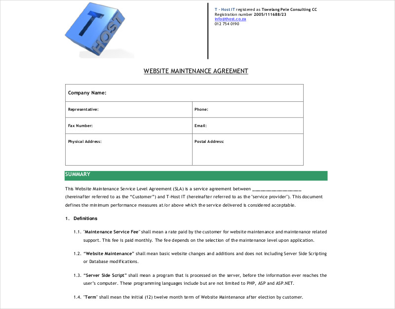 website maintenance agreement1