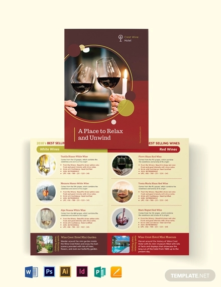 wine country hotel bi fold brochure template