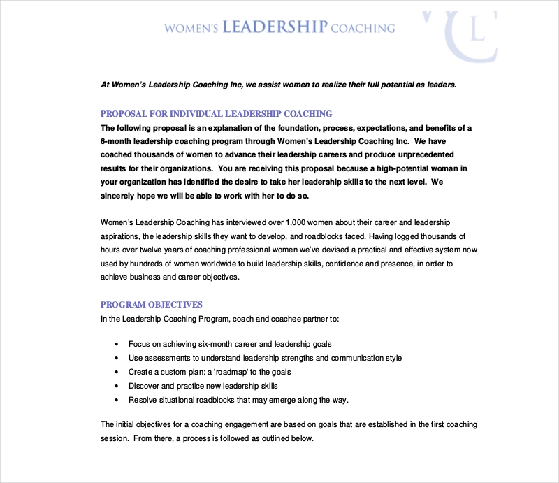 womens leadership coaching proposal