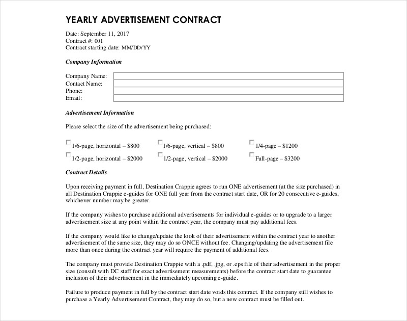 yearly advertisement contract