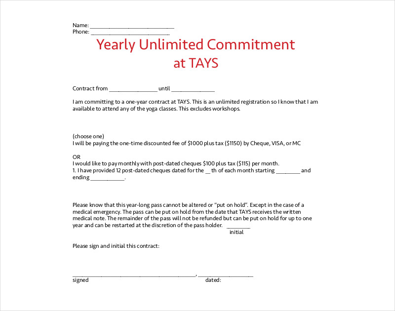 yearly commitment contract