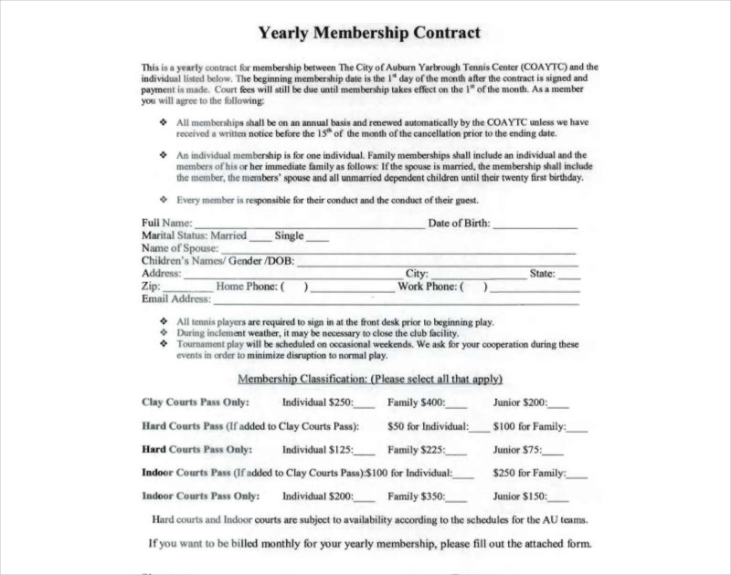 yearly membership contract