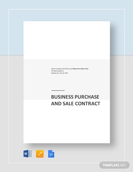 business purchase and sale contract