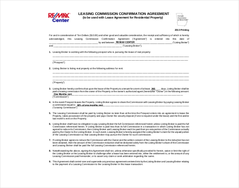 leasing commission conformation agreement