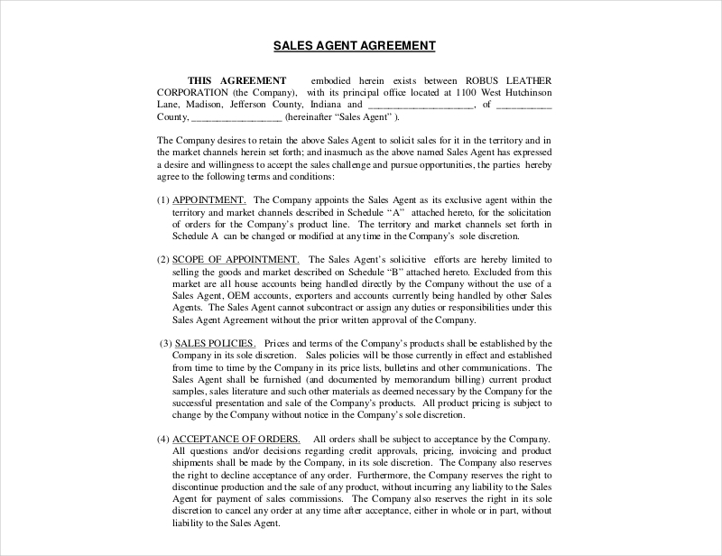 12 Sales Agency Agreement Examples Pdf Doc