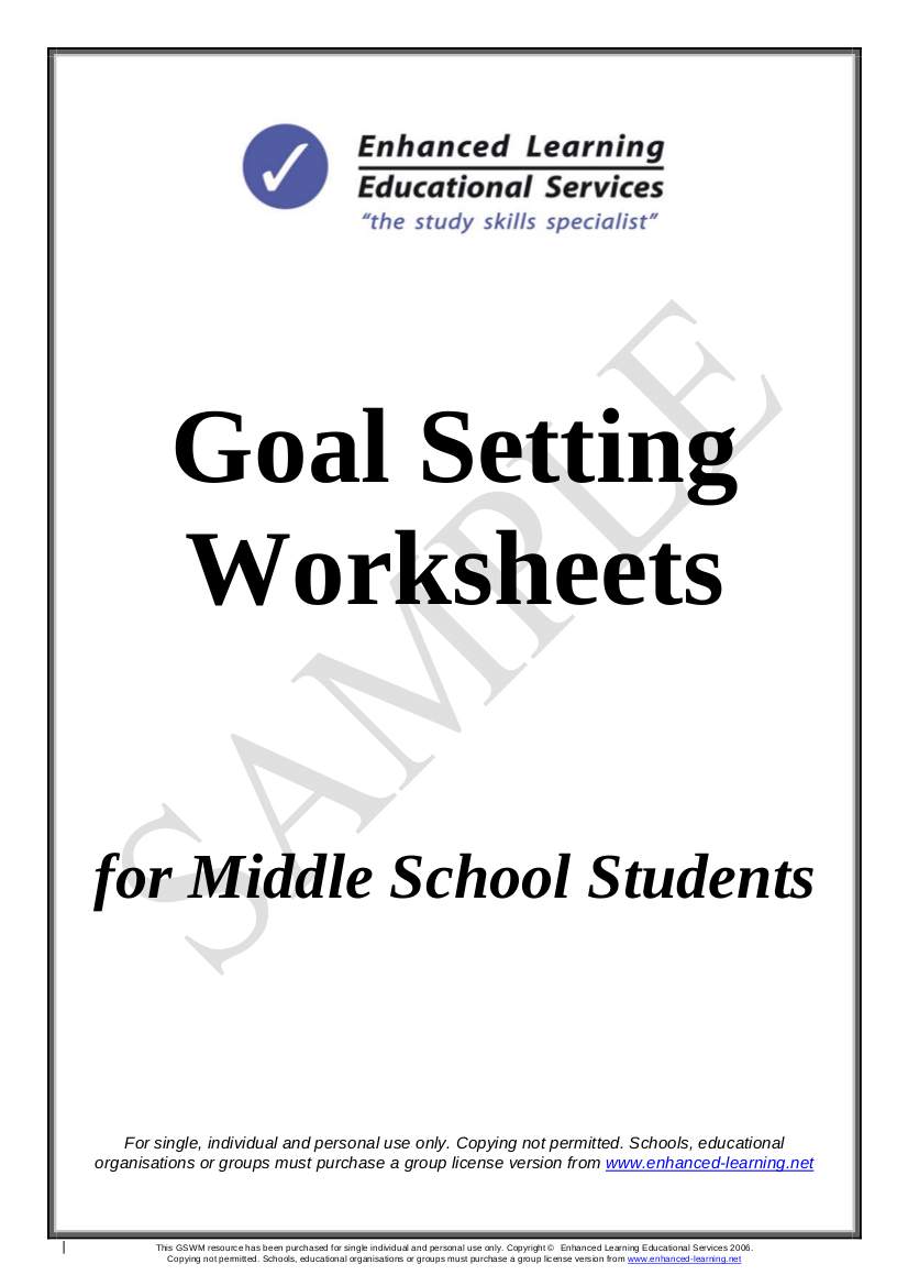 15 Goal Setting Worksheets Pdf Word Pages