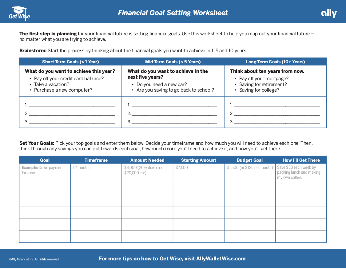 Worksheets Financial Goal Setting Worksheet 14 goal setting worksheets pdf financial worksheet example