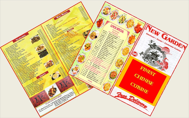 2 miniature vintage chinese food menu