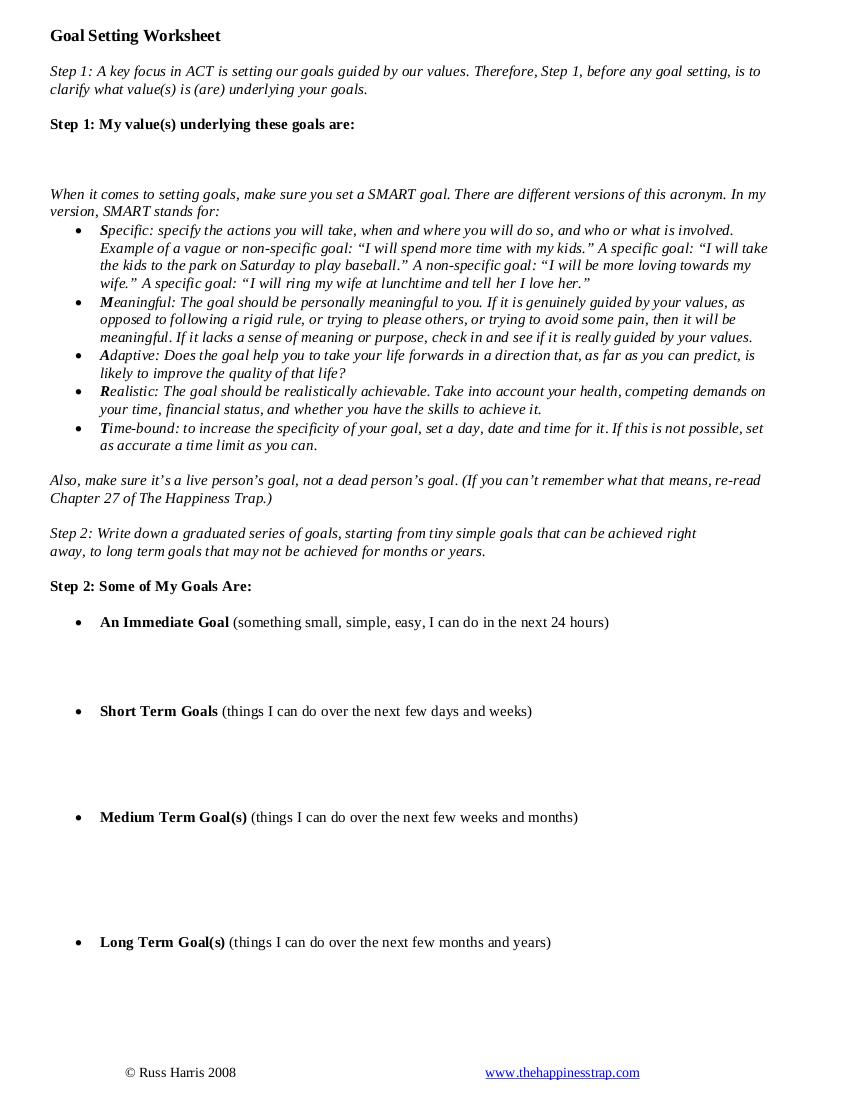 Sample Goal Setting Worksheet Example
