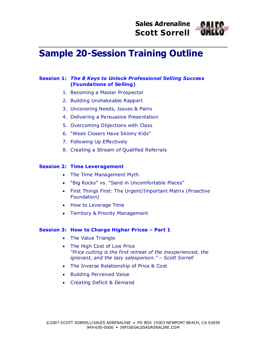 9 training outline examples pdf