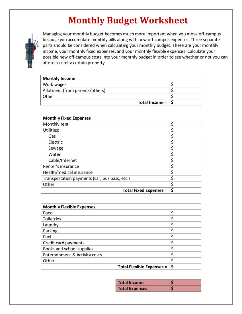 household bills worksheet