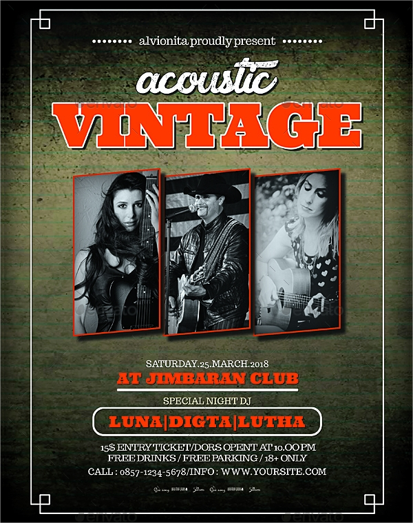 acoustic vintage flyer and poster