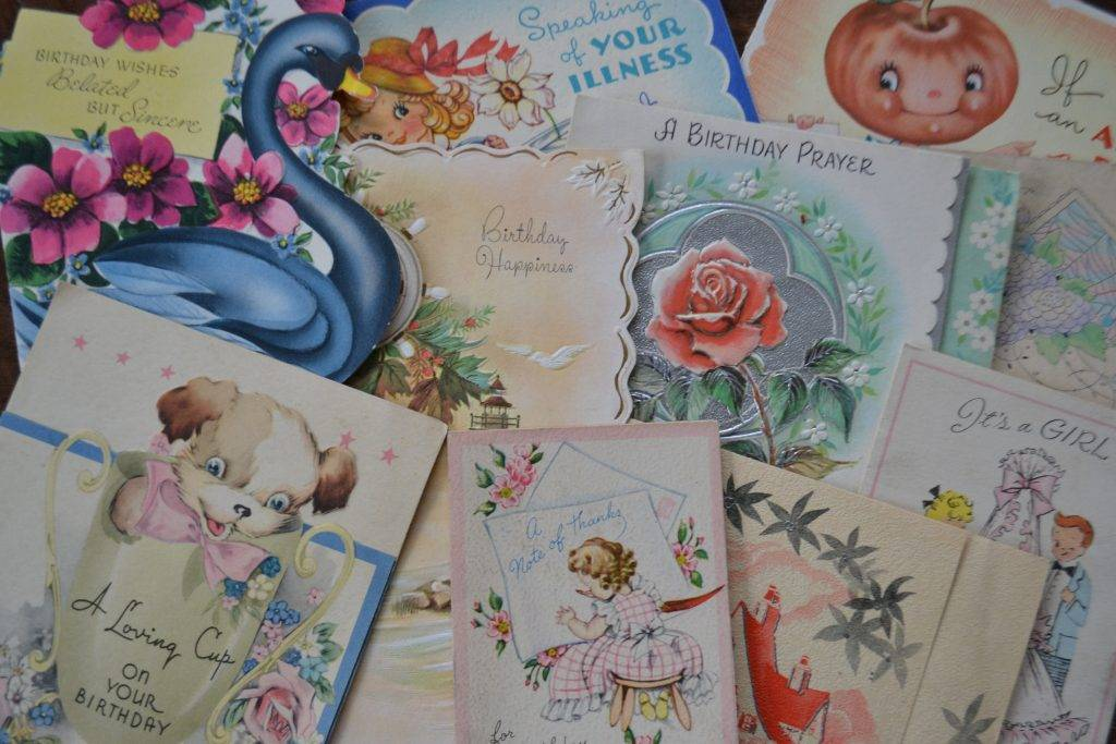 assorted vintage retro midcentury used greeting cards