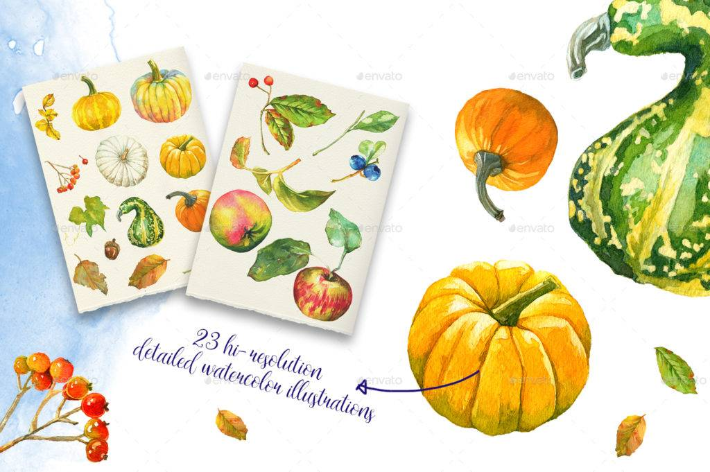 autumn watercolor fruits greeting card