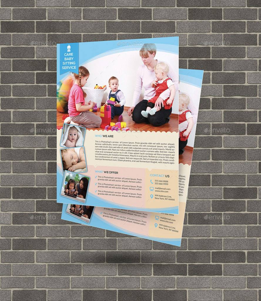 babysitting and day care flyer template