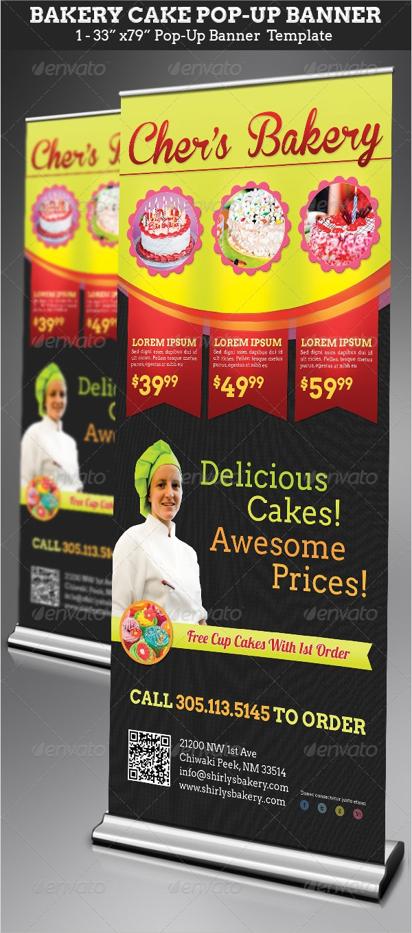 bakery cake pop up banner template