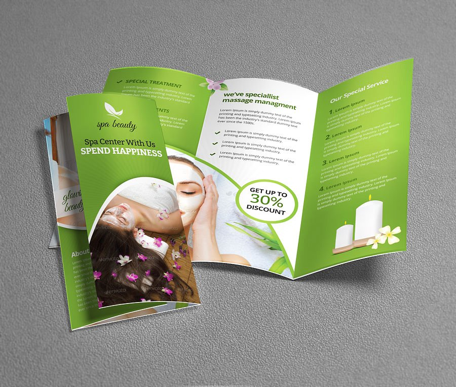 beauty spa tri fold flyer