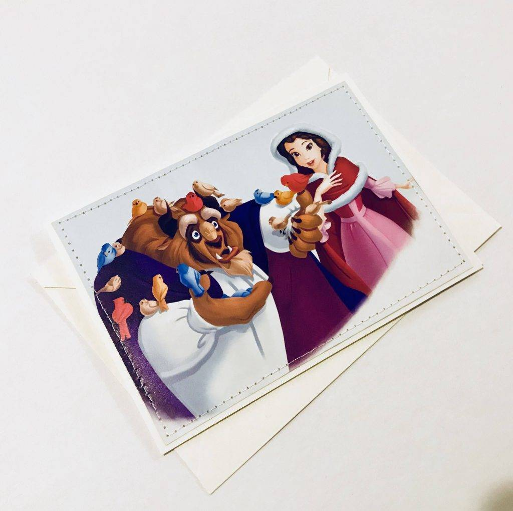 beauty and the beast disney greeting card and envelope