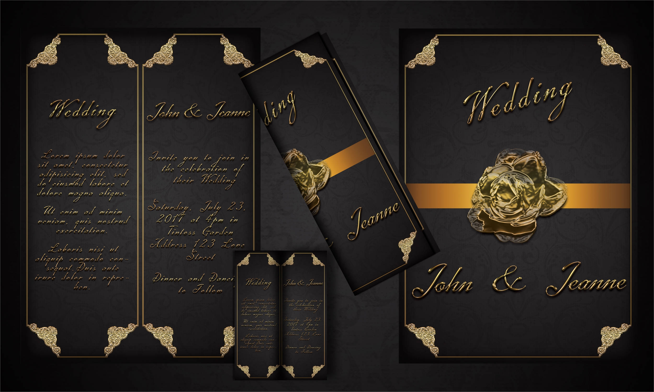 black and gold wedding flyer