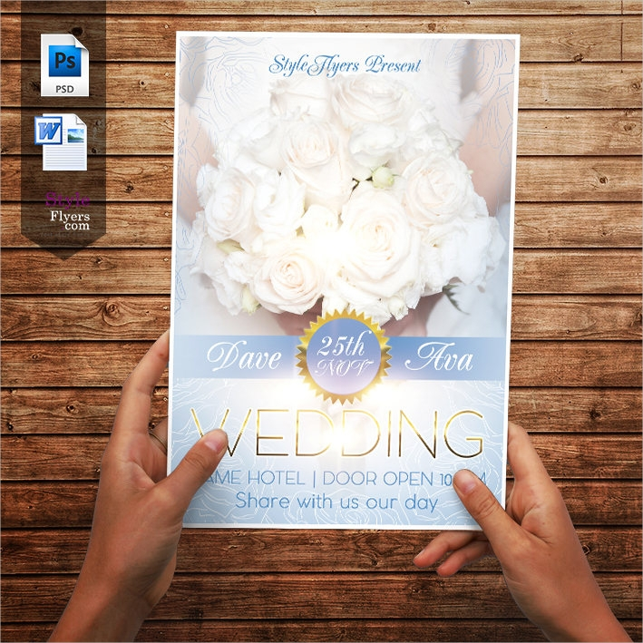 blue and gold wedding flyer design template