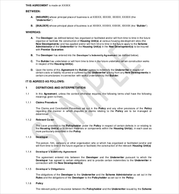 6 Indemnity Agreement Examples Pdf Doc