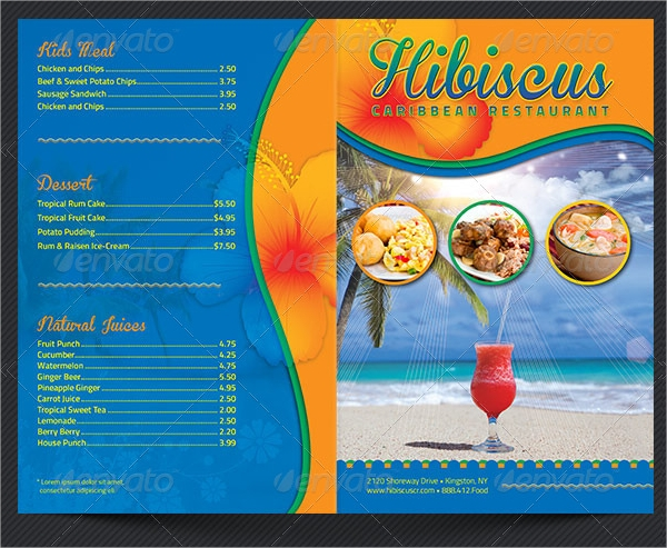 caribbean restaurant takeout menu template