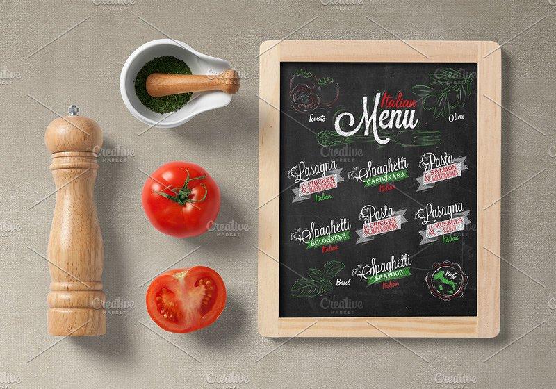 chalkboard italian menu