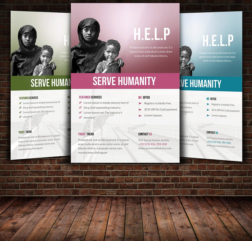 charity flyer template with different colors