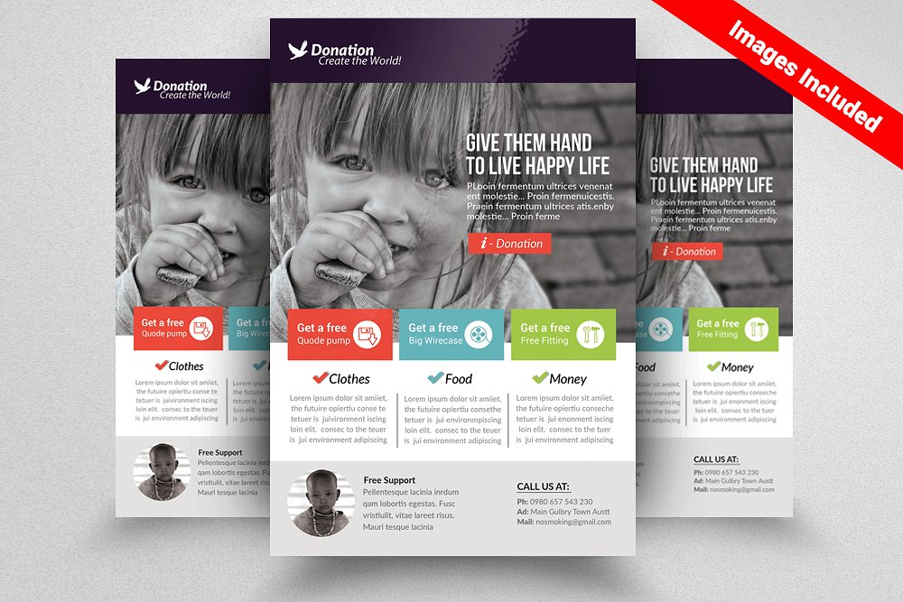 charity and donation flyer template