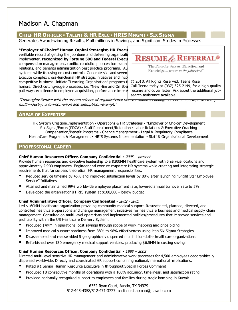 chief hr officer sample resume1