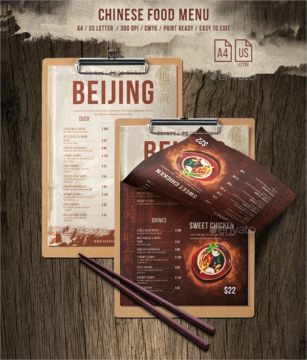 chinese single page a4 us letter food menu