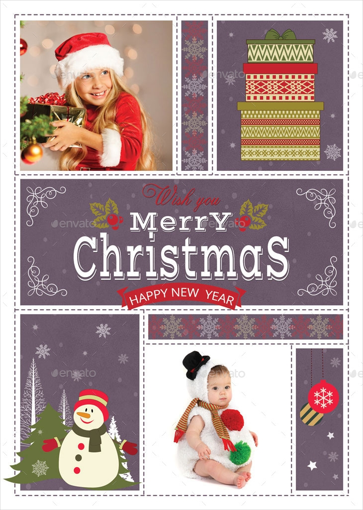 christmas greeting card with your photos