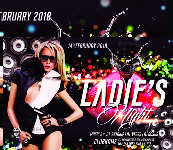 colorful ladies night flyer