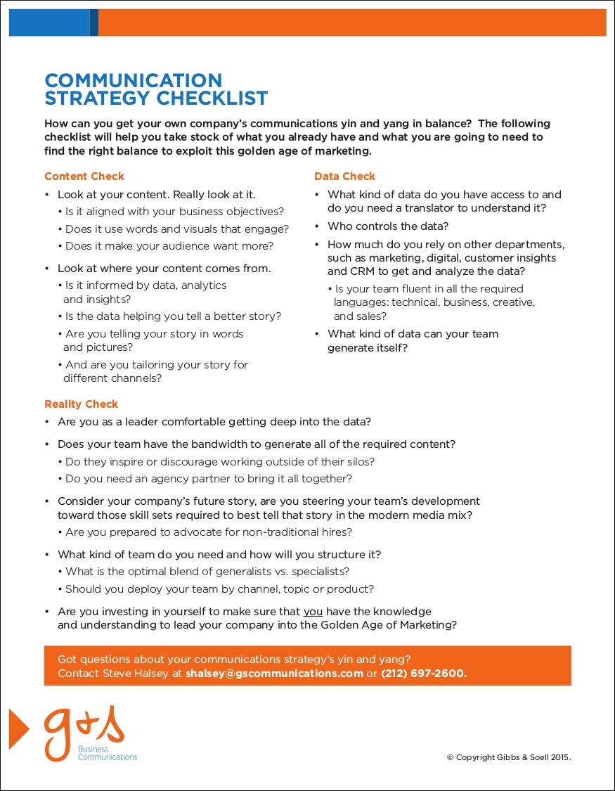 communication marketing strategy checklist