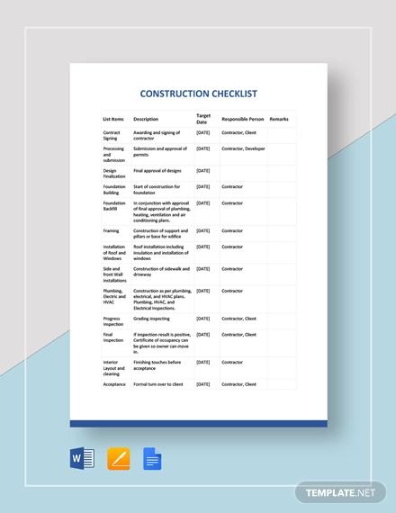 construction checklist example