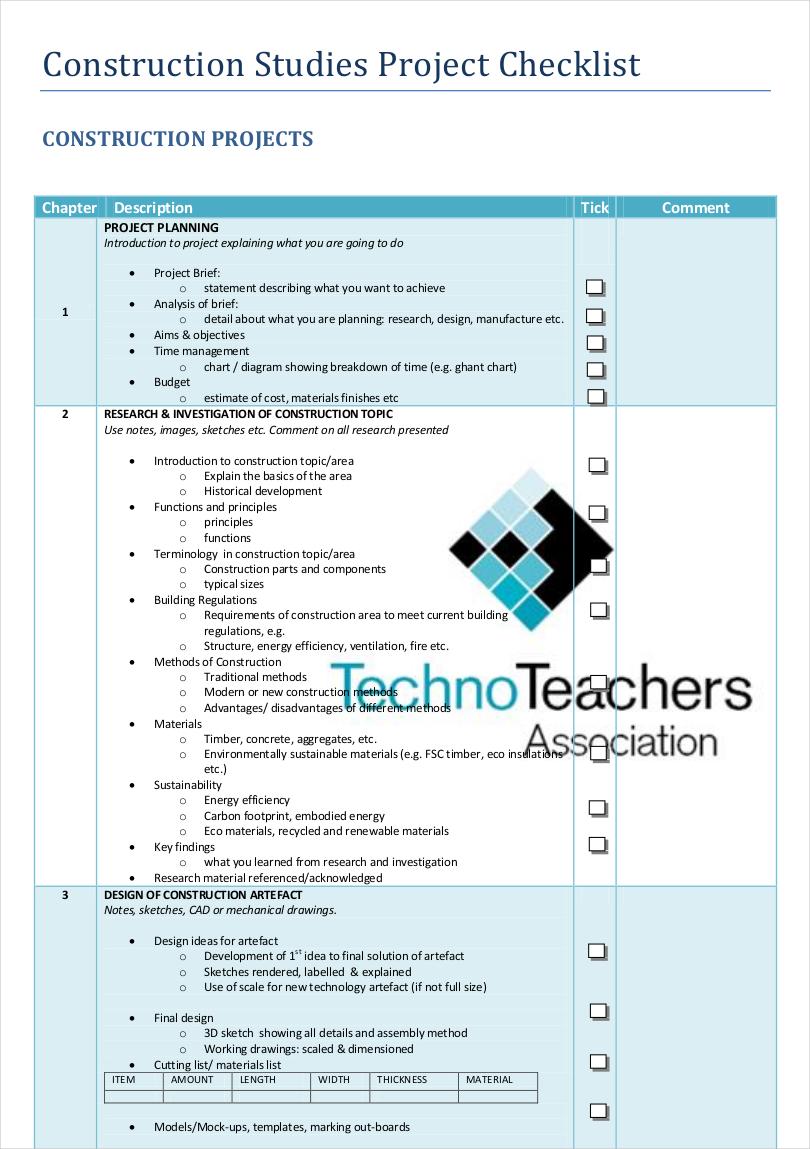 construction studies project checklist1