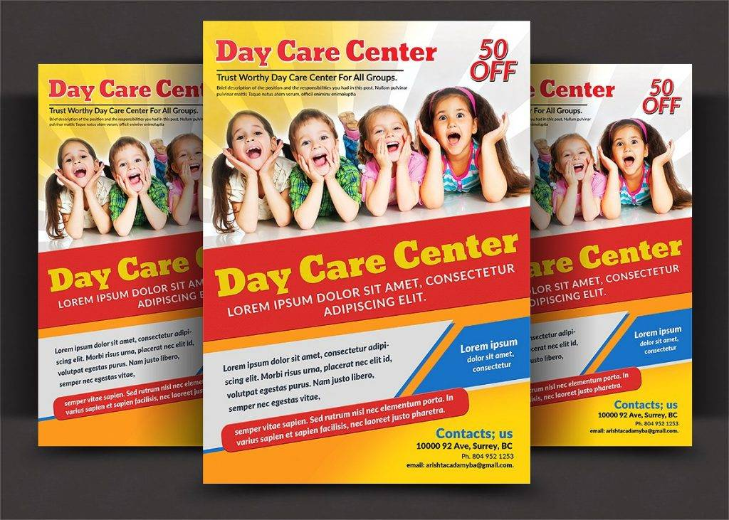 14 child care flyer designs examples psd ai for Daycare brochure template