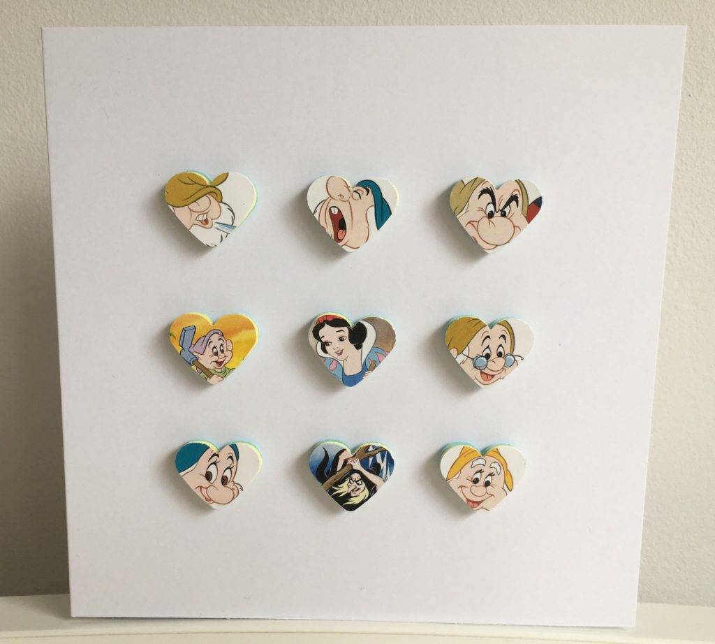 disneys snow white and the seven dwarfs 3d hearts handmade greeting card