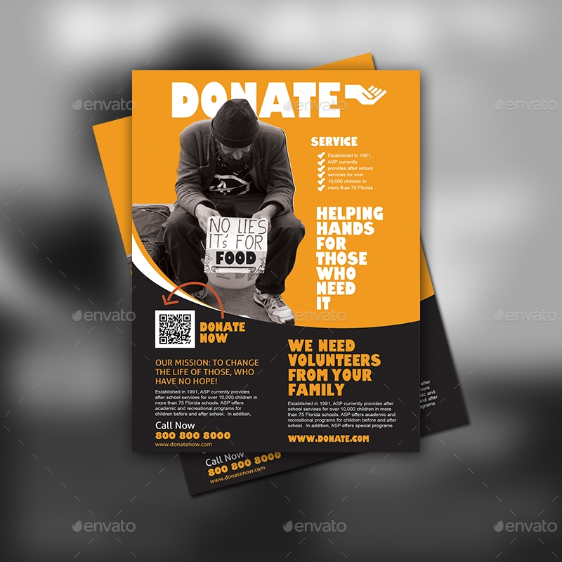 donate and charity flyer design