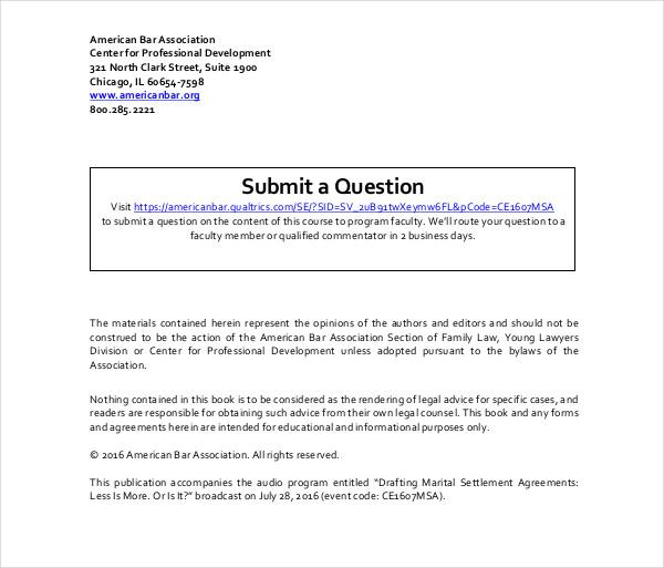 drafting marital settlement agreements
