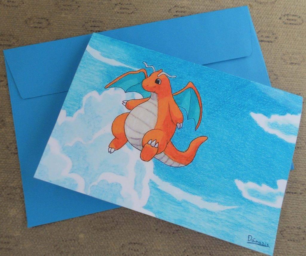 dragonite pokémon greeting card
