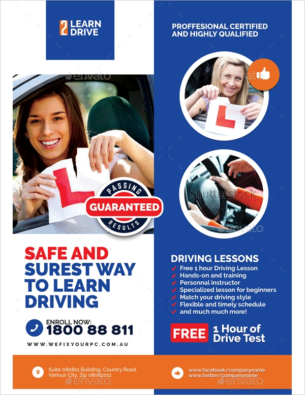 driving school promotional flyer