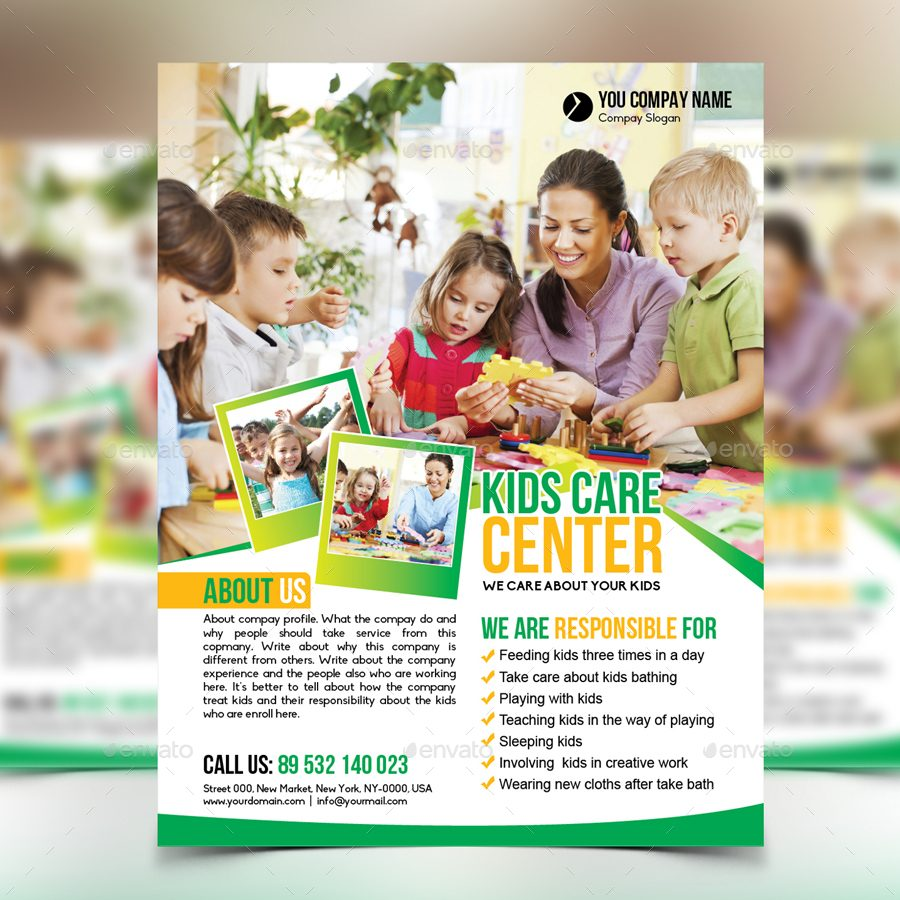 editable kids care flyer