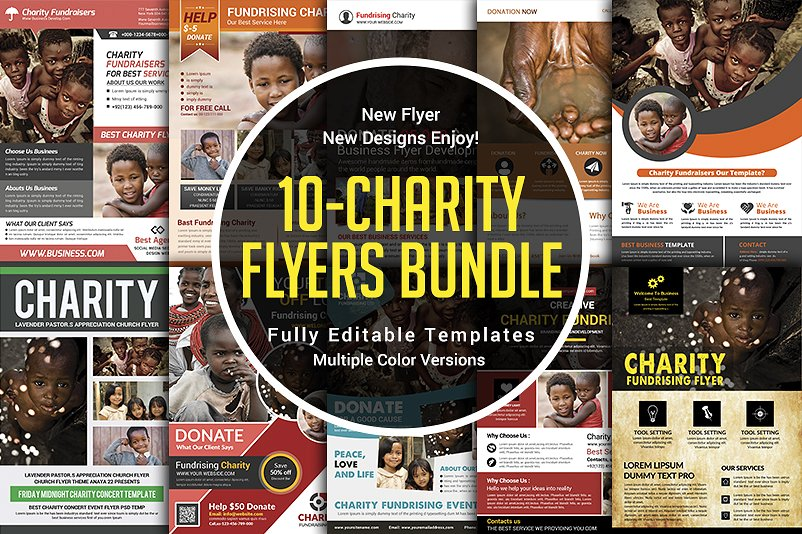 elegant charity donation flyers bundle