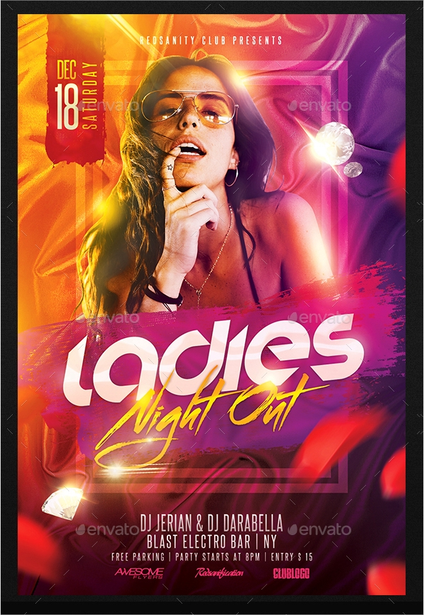 elegant ladies night flyer
