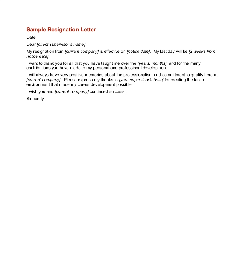 Official Resignation Letter Examples  Pdf