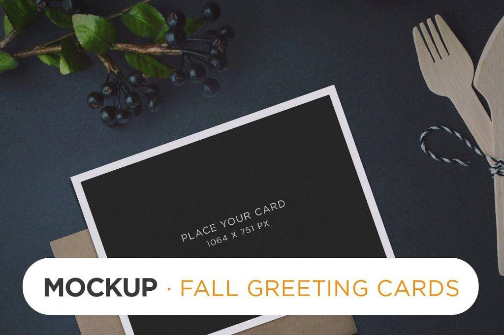 fall greeting card mockup