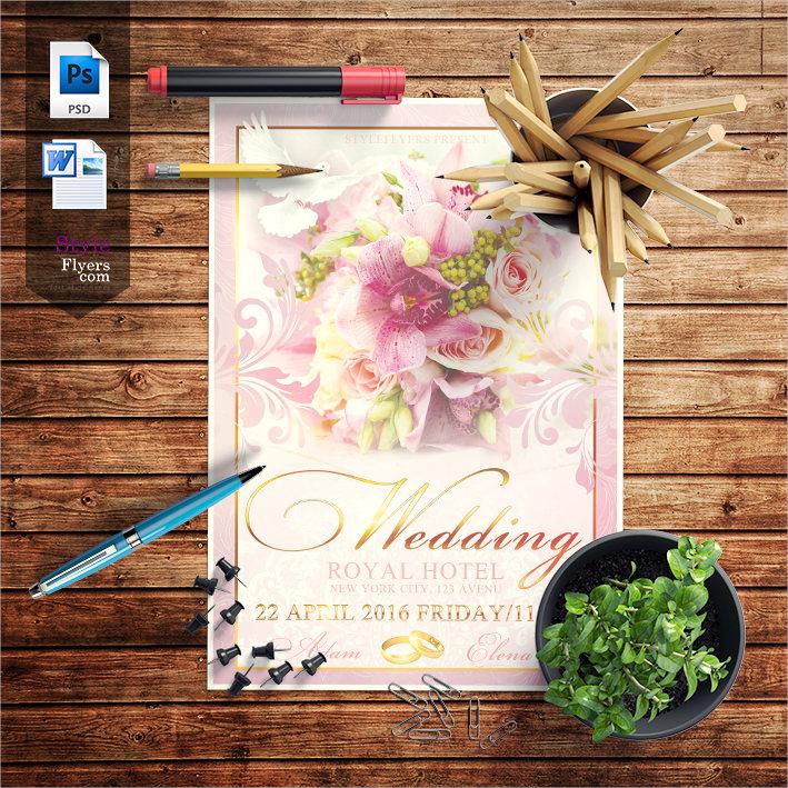 floral pink wedding flyer template design