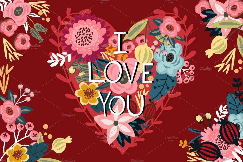 floral valentines card
