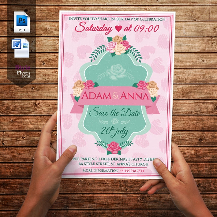 flowery wedding flyer template